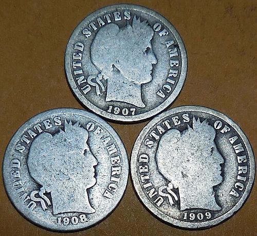 Three Barber Dimes 1907 1908 & 1909