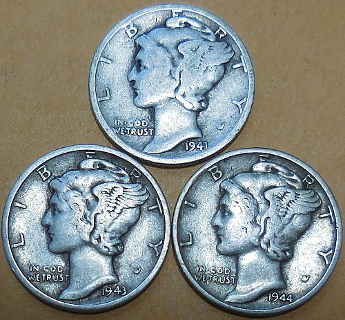 Three Mercury dimes 1941-D 1943-D & 1944-P