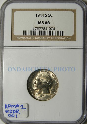 1944-S Jefferson Nickel NGC MS-66 RPM # 1