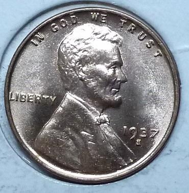 1937-S Gem BU RED Lincoln Wheat Cent (926K )