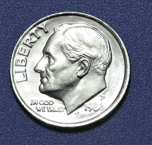 1986-P 10 Cents - Roosevelt Dime - Uncirculated