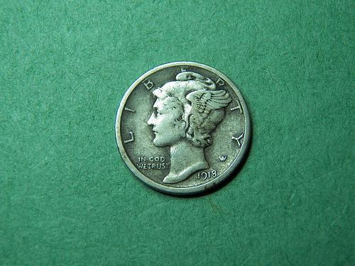 1918 S Mercury Dime Very Fine Coin   u07