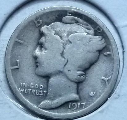 1917-P  GOOD Mercury Dime   ( 175E )