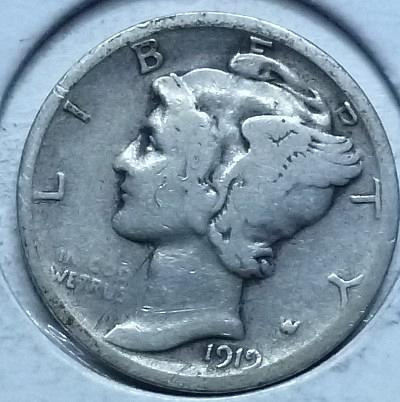 1919-D VERY GOOD Mercury Dime   ( 175L)