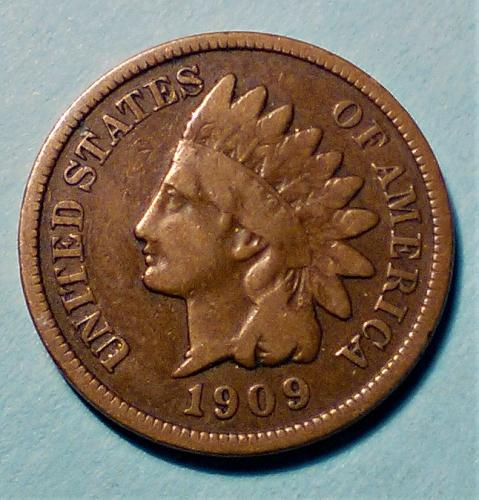 1909 INDIAN HEAD CENT -- PARTIAL LIBERTY