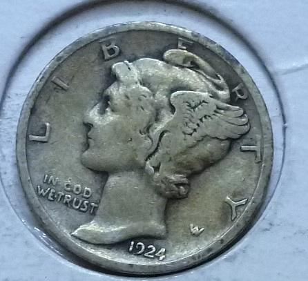 1924-P VERY FINE Mercury Dime   ( D175)