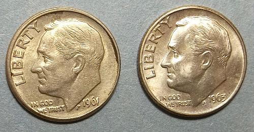 2 Roosevelt Dimes Lot RsD99a
