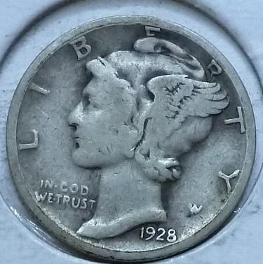 1928-S VERY GOOD Mercury Dime   (459)