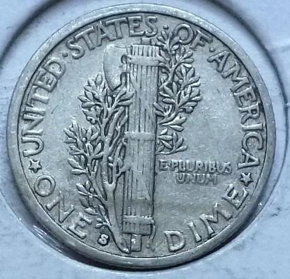 1935-S EXTRA FINE Mercury Dime   (464)
