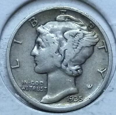 1935-S EXTRA FINE Mercury Dime   (140B)