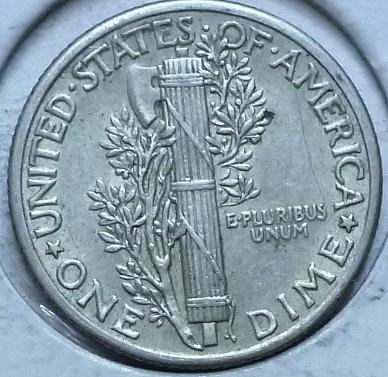 1935-P ABOUT UNCIRCULATED  Mercury Dime   (145C)