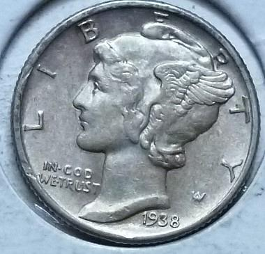 1938-P ABOUT UNCIRCULATED  Mercury Dime   (145E)