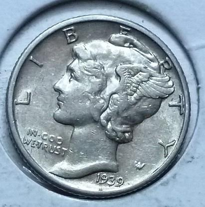 1939-P EXTRA FINE  Mercury Dime   (459)