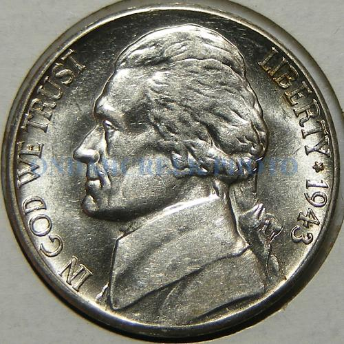 1943-S Jefferson Nickel Close to Bisecting Rim to Rim Die Error