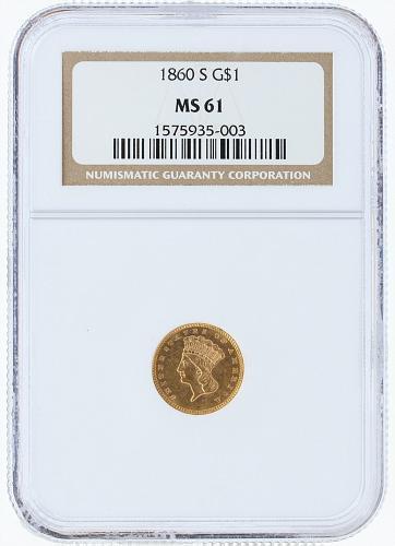 1860-S Gold Dollar NGC MS61 G$1