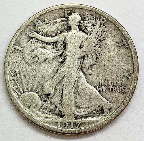 1917 S Walking Liberty Half Dollar - Mint Mark on Reverse