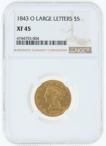 1843-O Large Letters Half Eagle NGC XF45 $5