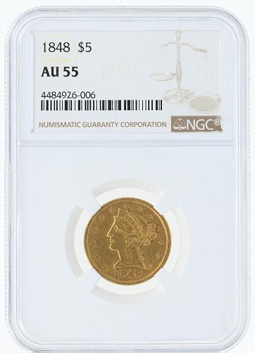 1848 Half Eagle NGC AU55 $5