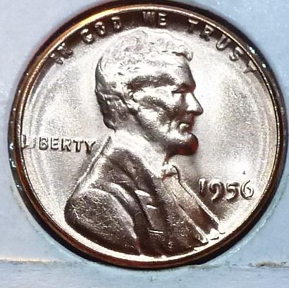 1956-P Gem BU RED Lincoln Wheat Cent (163)