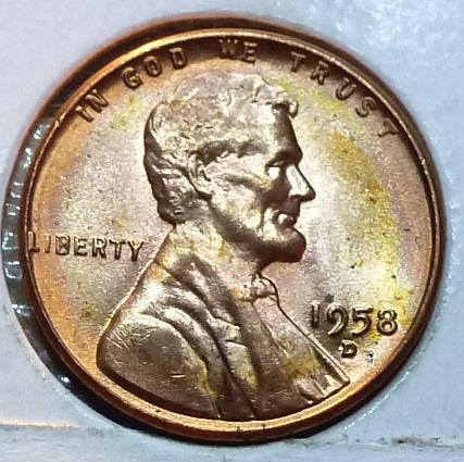 1958-D Gem BU RED Lincoln Wheat Cent (155)