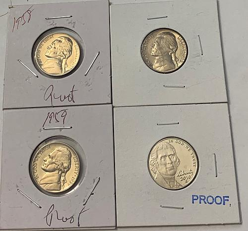 4 Jefferson Nickels. 1958-P Proof  1958-D MS  1959-P Proof  2010-S Proof