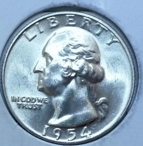 1954-P GEM BRILLIANT UNCIRCULATED Washington Quarter BU ( L104)