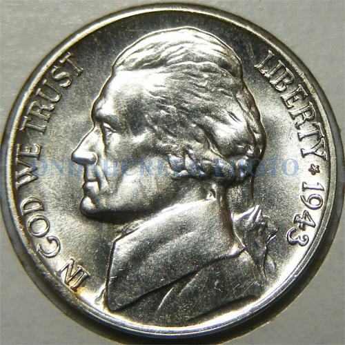 1943-D Jefferson Nickel Small Retained Lamination and Spiked Head