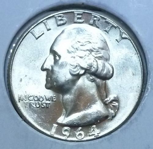 1964-P GEM BRILLIANT UNCIRCULATED Washington Quarter BU ( 105G)