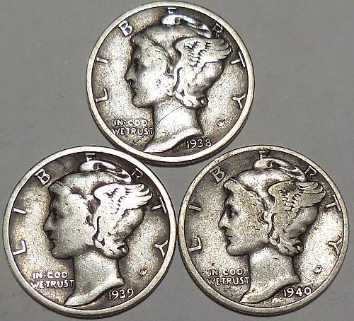 Mercury Dimes Three 1938-P 1939-D & 1940-D
