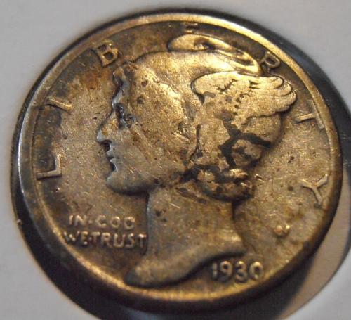 1930 S Mercury Silver Dime (30SAC2)