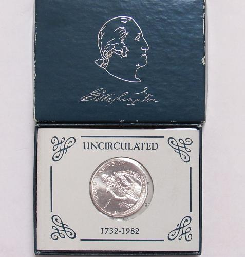 1982 D Silver George Washington Commemorative Half Dollar in BU condition