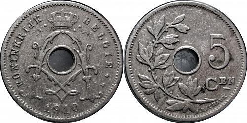 Belgium 1910 5 Centimes dot over ij