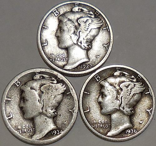 Mercury Dimes Three 1927-P 1934-D & 1936-P