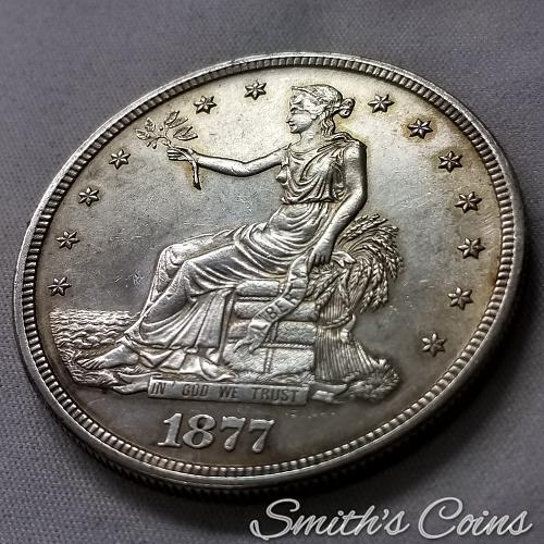 1877 S Trade Dollar ~ AU 55