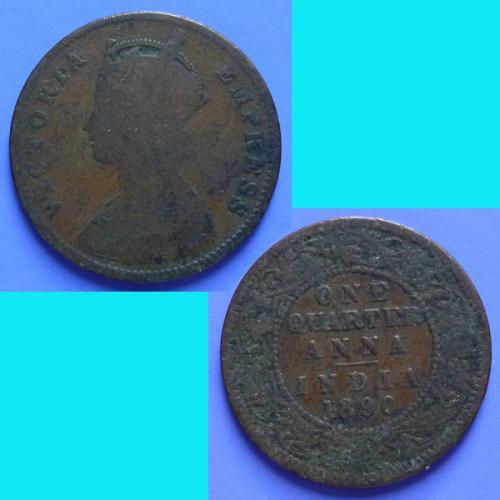 British India 1/4 Quarter Anna 1890 (c)  km 486