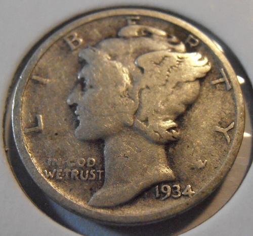 1934 P Mercury Silver Dime (34PAC1)