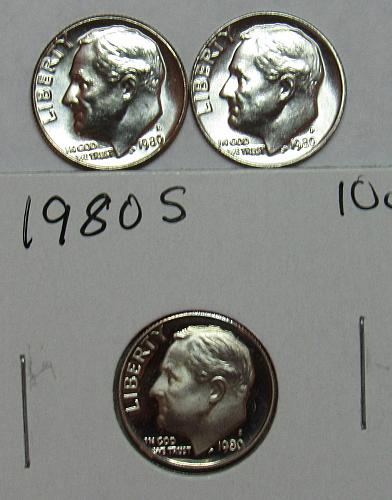 1980 P,D&S Roosevelt Dimes in BU and Proof condition