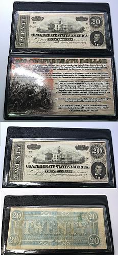 1864 $20 Twenty Dollar Confederate Dollar With Protective Case