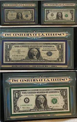 Two Centuries Of Us Currency Two Dollars With Protective Case