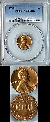 1968-P PCGS LINCOLN CENT MS65RD