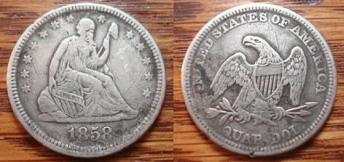 1858 Silver Seated Liberty Quarter