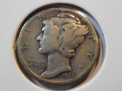 1935 S Mercury Silver Dime (35SM6)