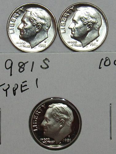 1981 P,D&S Roosevelt Dimes in BU and Proof condition