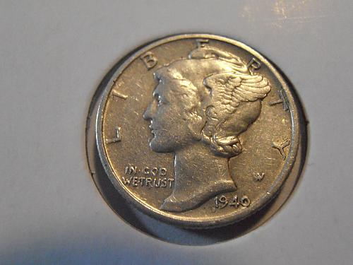 1940 S Mercury Silver Dime (40SAC1)