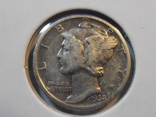 1938 P Mercury Silver Dime (38PM3)