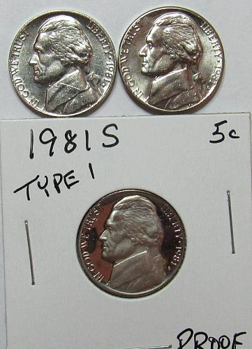 1981 P,D&S Jefferson Nickels in BU and Proof condition