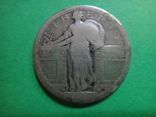 1917-D Type 1 Standing Liberty Quarter About Good-3 No Date