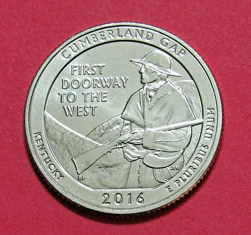 2016-S 25C Cumberland Gap Kentucky National Park America Beautiful Quarter