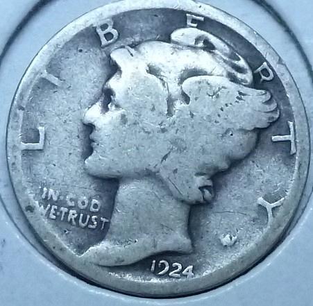 1924-P Very Good Mercury Dime VG ( 1034)