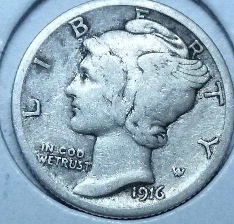 1916-S VERY FINE Mercury Dime VF ( 1017 )